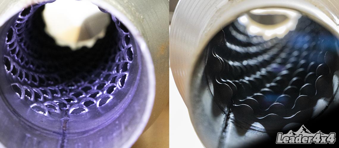 Vue intérieure d'un glasspack. Entrée des gaz d'échappement dans le sens d'ouverture des écailles. Sortie des gaz d'échappement dans le sens opposé des écailles métalliques