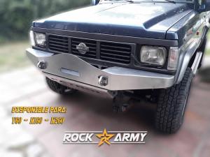 Pare chocs avant acier avec porte treuil et protection (modèle ARC) de marque Rock Army pour Nissan Patrol K160 / K260