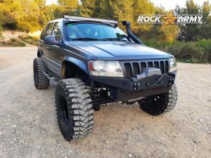 Pare chocs avant acier avec porte treuil (modèle XXT) de marque Rock Army pour Jeep Grand Cherokee WJ, WG